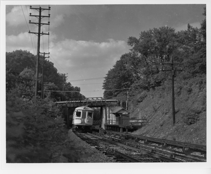 Lehigh Valley Transit southbound Liberty Bell Limited car 702 at County Line station of the P&W in 1947. (David H. Cope photo)