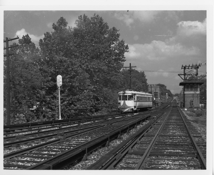Lehigh Valley Transit northbound Liberty Bell Limited at Villanova Junction in 1947. (David H. Cope photo)