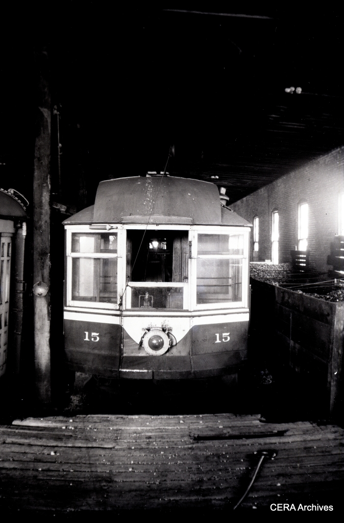 Line car 15 was built by Pullman in 1897. (Photo by Norman Rolfe)