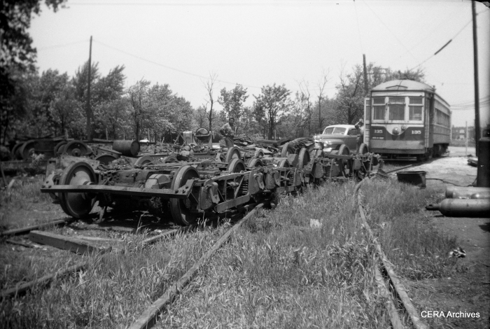 Scrapped trucks in the yard behind the Suburban car barn at Harlem and Cermak. (Photo by Norman Rolfe)