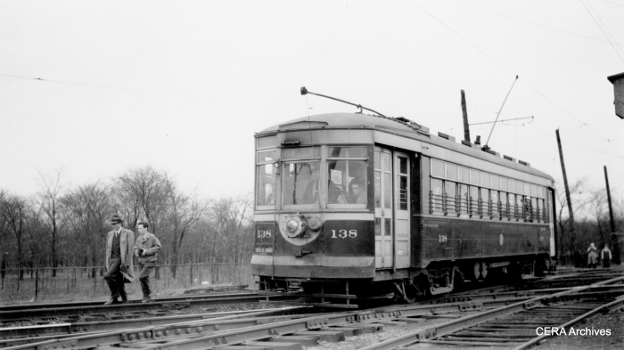 C&WT 138 heading eastbound, crossing the Illinois Central tracks on 26th near Harlem on the La Grange line on April 11, 1948. Built by McGuire-Cummings in 1924, this car was scrapped in 1948. (Photo by Charles Able)