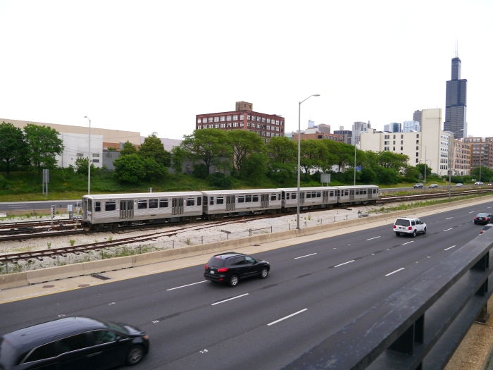 Back on the Blue Line near Morgan, the fantrip train heads towards its final destination at Rosemont. (Photo by David Sadowski)