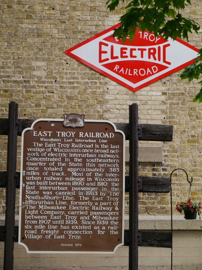 This historical marker was erected in East Troy in 1973. The six-mile line is no longer used for freight. (Photo by David Sadowski)
