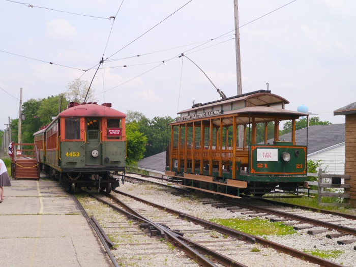 Chicago Rapid Transit cars 4453 and 4420, built in the early 1920s, with replica open car from 1975, at the East Troy depot. (Photo by David Sadowski)