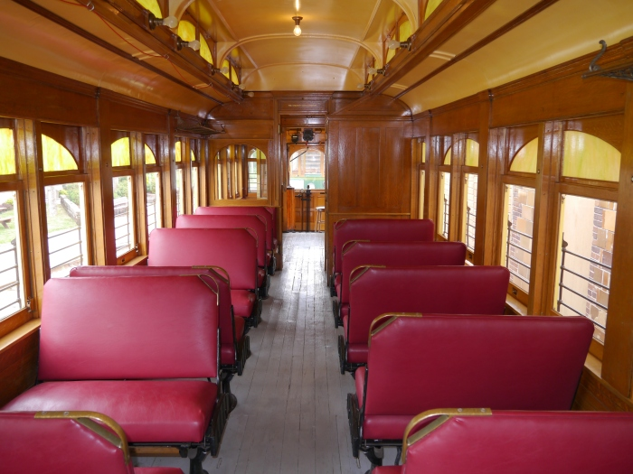 Interior of restored Sheboygan car 26. (Photo by David Sadowski)