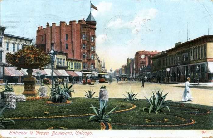 In this hand-tinted postcard, printed in Germany, we see a couple of Cottage Grove cable cars at center. Drexel Park Boulevard does not connect with Cottage Grove today, as it does here. According to Dennis McClendon, we are looking north at about 41st Street.