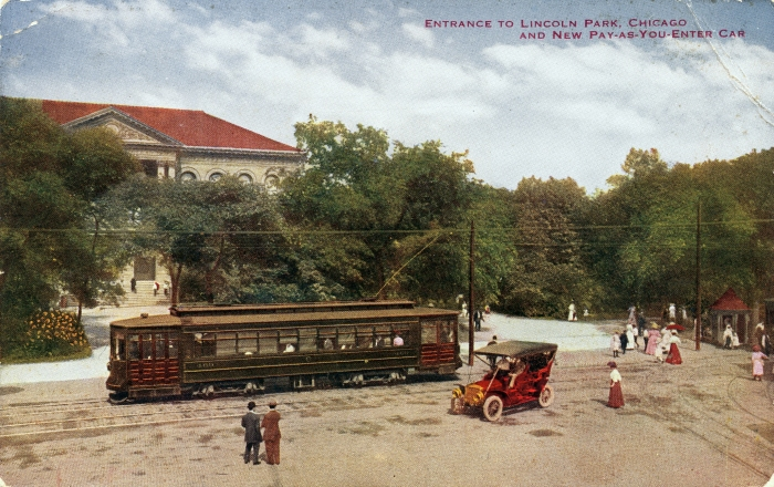 In this circa 1908 view, we see one of the Red Chicago Pullmans (I think the number is 400) before it was red. Streetcars had replaced the last Chicago cable cars just two years before. Until then, overhead wire was banned from the Loop because of concerns that it might start another Chicago Fire. That could be Jack Benny's old Maxwell at right.