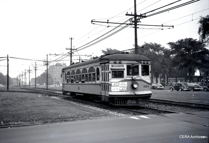 AE&FR car 304, now returned to Fox River, shown here circa 1950 in Cleveland Rapid service.