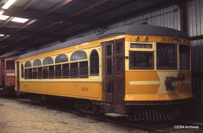 "AE&FR car 303, sister to 304, at the Columbia Park and South Western (aka ""Trolleyville USA"") in November 1963, in this photograph by R. S. Short."