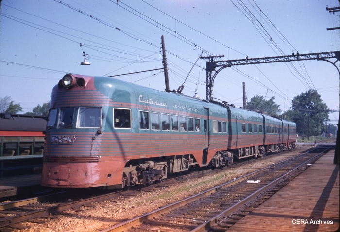 "A CNS&M Electroliner in a Kodachrome ""superslide"" taken on May 26, 1959. (In this case, the photographer used size 828 roll film for an image slightly larger than 35mm.) Such streamlined cars once provided hi-speed rail service between Chicago and Milwaukee that would cost billions to replace today."