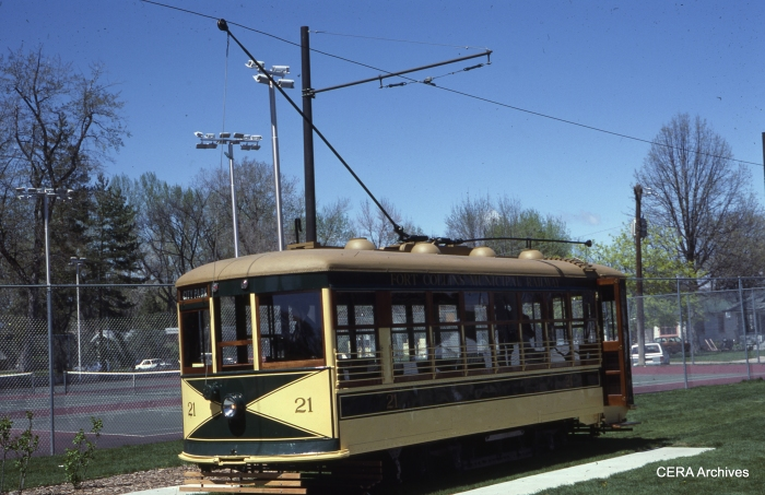 Ft. Collins Municipal Railway Birney car 21, as it looked on April 27, 1986, in this photograph by Ed Fulcomer.