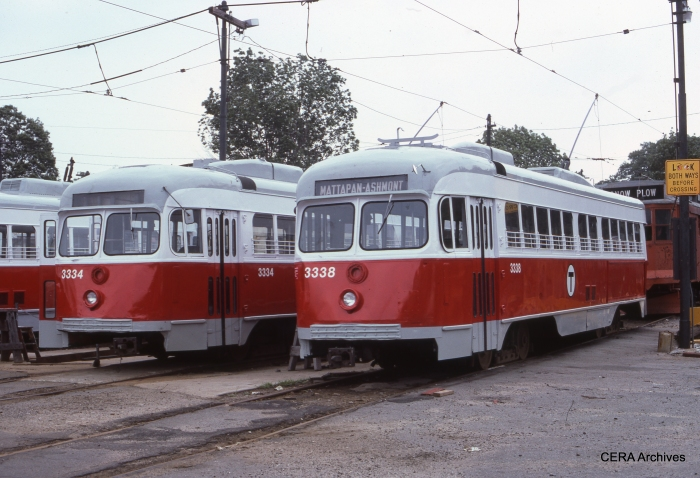 Ex-Dallas double-end PCC car 612 was renumbered as 3334 in Boston, and is shown there at left. This car may be restored to run again in Dallas.