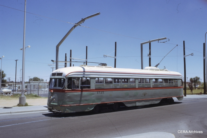 El Paso City Lines pre-war PCC 1515 in June 1971. It's possible this same car may be restored and once again run on the streets of El Paso.