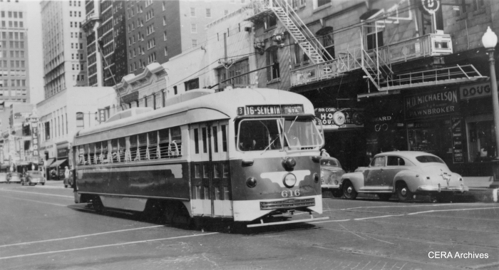 Dallas Railway and Terminal Co. car 616, sister car to 612, in Dallas Texas in July 1946.