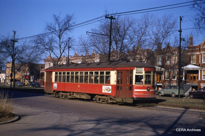 CTA 1772 on Cermak at Karlov on November 15, 1950. Five blocks west of here, red streetcars would change passengers with the Chicago and West Towns, at the border between Chicago and Cicero.