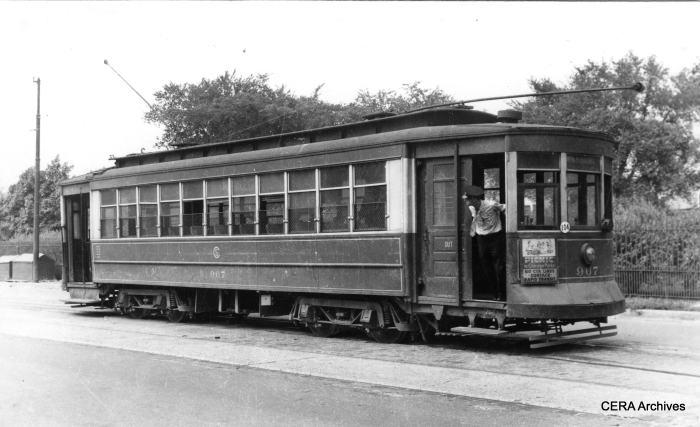 CTA (ex-CSL) Red Pullman streetcar 967 on Irving Park Road, September 1948.