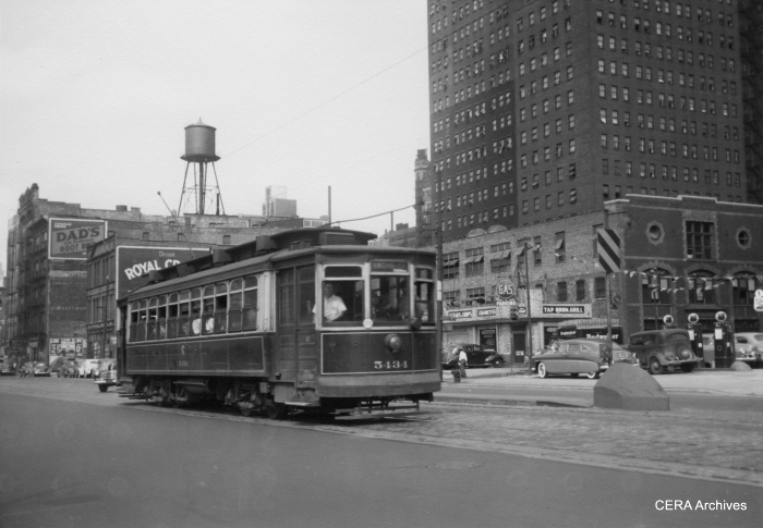 CTA (ex-CSL) 5434 (built by J. G. Brill 1907-08) on the Wallace-Racine line, which was bustituted in 1951. (Photo by Raymond J. Muller)