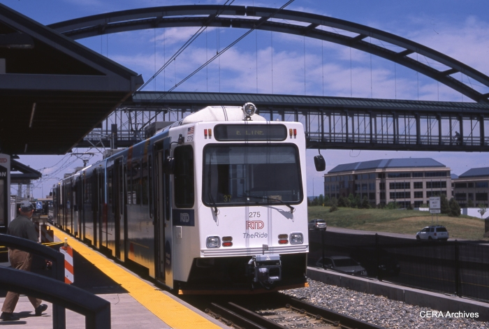Denver RTD LRV 275 on May 27, 2013 at Lincoln on the E line. New systems like this are coming on line all over the country. (Photo by Ray DeGroote)