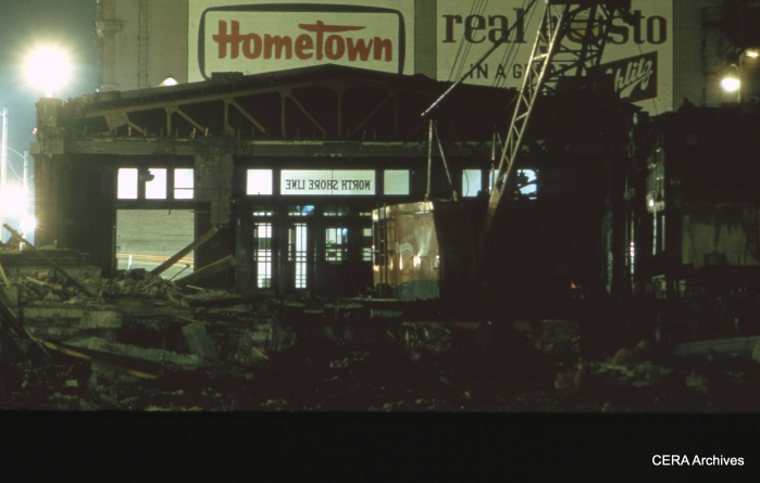 The North Shore Line terminal in Milwaukee, as it was being demolished in 1964.