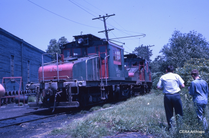 North Shore Line freight loco 452, as it appeared on June 17, 1962, during a CERA fantrip.