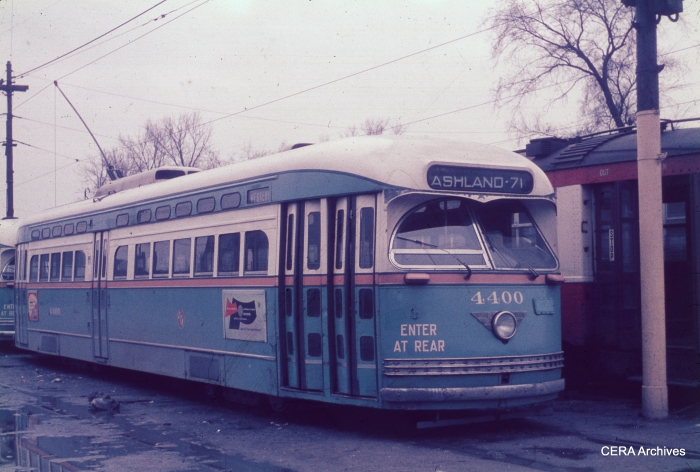 In the early 1950s, CTA postwar PCC 4400 lays over in an open storage yard behind 69th and Ashland carhouse, at the south end of the Western Avenue line.