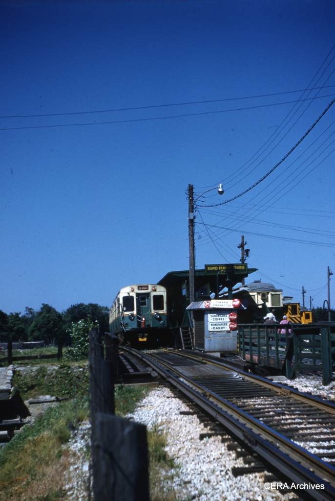 "The ""temporary"" CTA terminal at the end of the Congress line in 1959. The platform at right is where CA&E cars would have transferred passengers to CTA, if the interurban could have resumed service after highway construction."
