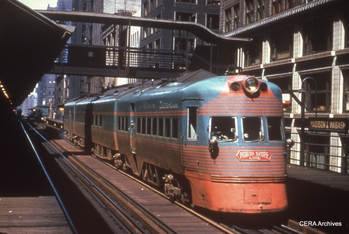 "One of the two Electroliners at Madison and Wabash on Chicago's ""L"" in the late 1950s."
