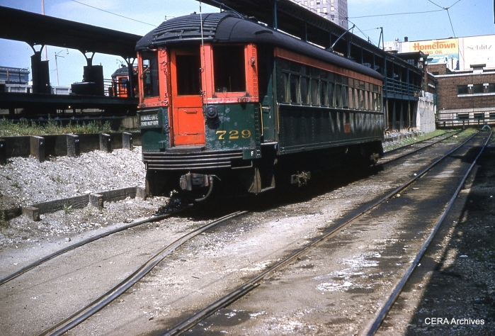 Car 729 at the gritty Milwaukee terminal.