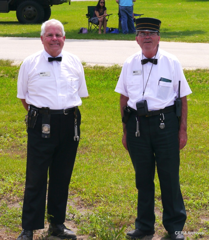 Brothers Dan and Chris Buck, who piloted the three-car train of CA&E steel cars at the IRM 2013 Trolley Pageant.