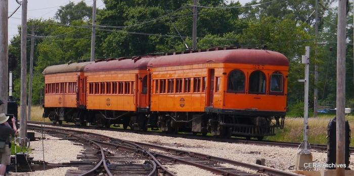 "IT three-car train 277-518-234 running in the ""Trolley Pageant"" at the Illinois Railway Museum on July 6, 2013. (David Sadowski Photo - CERA Archives)"