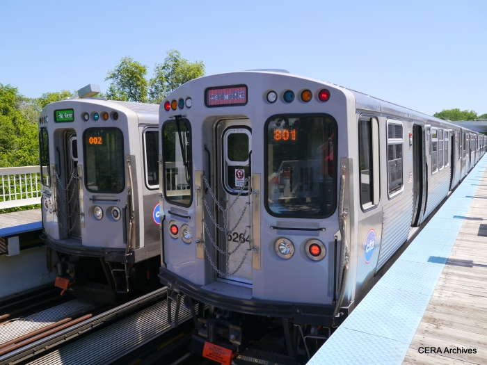 The Red Line meets the Green Line at Indiana.