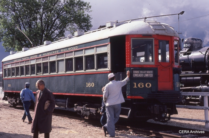 The North Shore Line left a legacy that continues to enrich our lives today. Here we see car 160 at the Illinois Railway Museum in the mid-1980s. Emerson Wakefield, the author's uncle, is walking away from the car. (Photo by David Sadowski)
