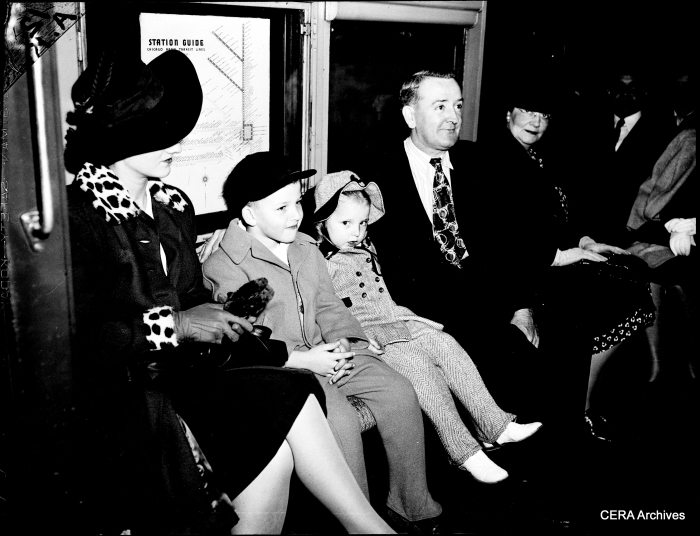 A Chicago family, all dressed up for their first subway ride, in October 1943.