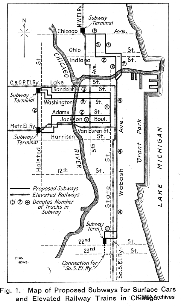 An early subway plan from 1909. The idea of an east-west subway for streetcars (and later, buses) persisted for another 50 years but was unrealized. Instead of a 4-track subway on Wabash, two tracks each were built on State and Dearborn.