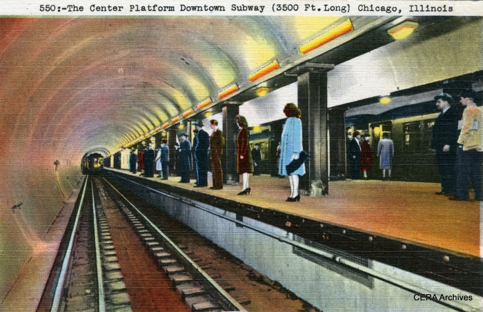 "A ""colorized"" version of one of the Chicago Subway postcards from our earlier post. 3-D glasses not included."