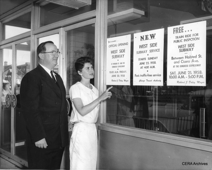 In the June CERA program, we saw some of Bill Hoffman's movies, including the free rides given on a portion of the new CTA Congress rapid transit line on June 21, 1958, between Halsted and Cicero. Perhaps not coincidentally, this was the very same day that the last streetcar ran in Chicago.