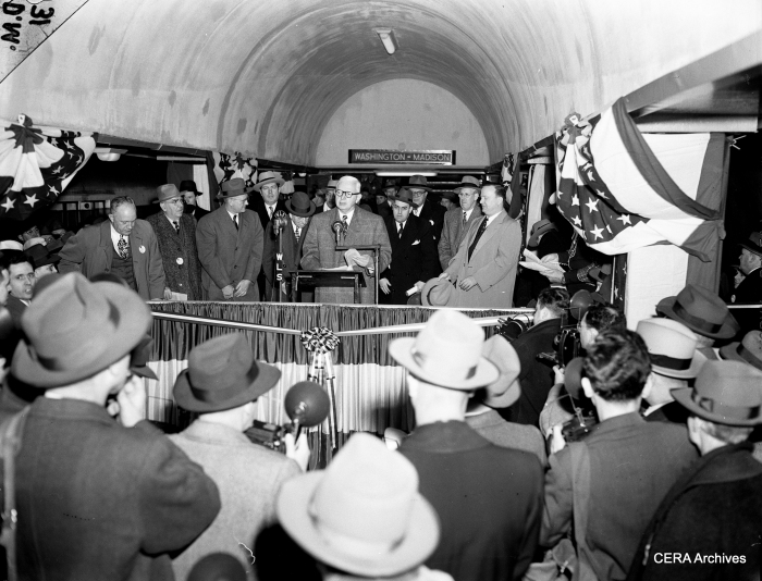 Mayor Kennelly at the opening of the Dearborn-Milwaukee subway on February 24, 1951. Both subway tubes were dedicated during mayoral election campaigns.