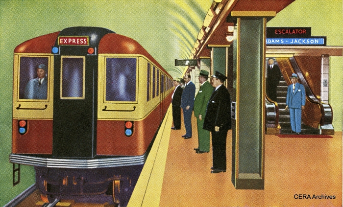 "A colorized version of the 1944 postcard photo above, but with a more modern rapid transit car in place of the 4000s. It looks much like the New York BMT's ""Bluebirds,"" then the state-of-the-art. They were the first elevated-subway cars to use PCC technology, and helped inspire the four 5000-series articulated units CRT ordered after the war."