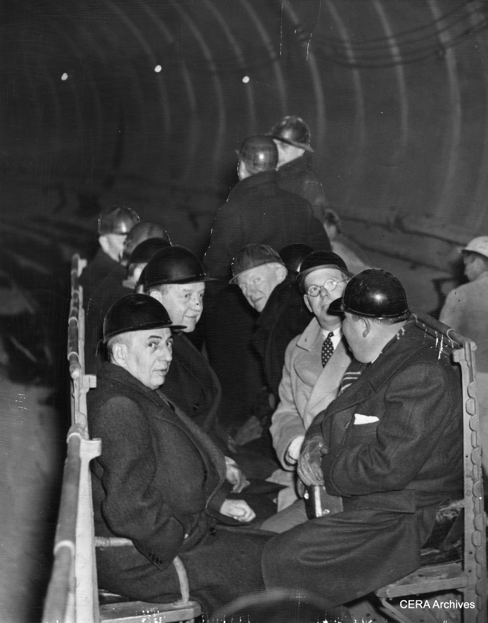 February 18, 1941 - The State Street Council on inspection tour of the Chicago subway. They are shown in the observation car they rode through the subway in.