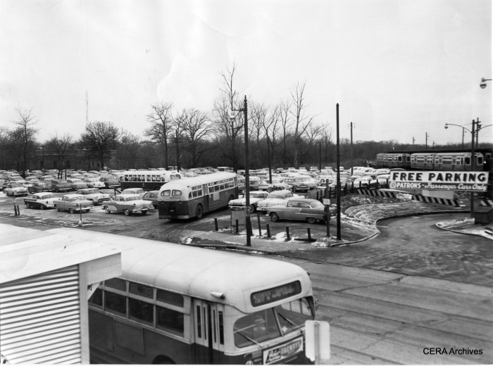 "The south end of the parking area at Des Plaines in Forest Park on December 10, 1957, about five months after CA&E suspended passenger service. Note the #17 bus, which replaced the Westchester branch of the ""L"" in 1951."