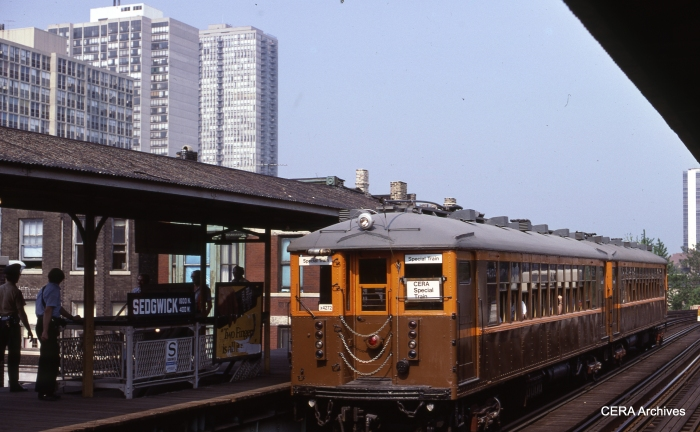 CTA Historical cars 4271-4272 at Sedgwick on May 28, 1978, during a CERA 40th Anniversary fantrip. (Photo by G. E. Lloyd)