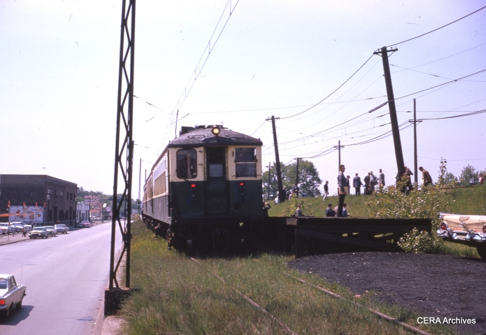 CTA 4259-4260 and 4287-4288 on the South Boulevard team track in Evanston, during CERA's 25th Anniversary fantrip on May 26, 1963.