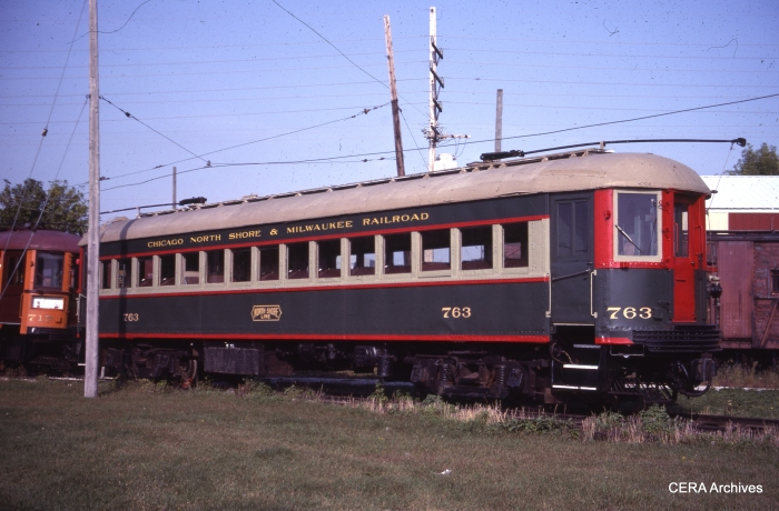 CNS&M 763 in Mukwonago, Wisconsin on October 1, 1983. This car was sold to the Illinois Railway Museum in 1988. (Photo by Mike Sosalla)