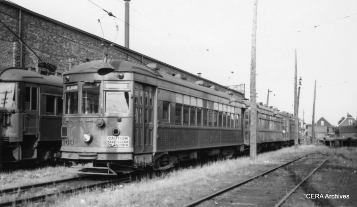 North Shore city streetcar 360 in August 1949.