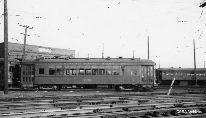North Shore city streetcar 356 in August 1949. Sister car 354 is now preserved at the Illinois Railway Museum.