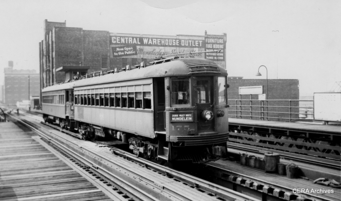 CNS&M 175 at Roosevelt Road in August 1949, during the years when the North Shore practically had this station all to itself.