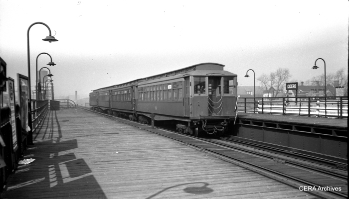 The Garfield Park's Cicero station, seen here in the early 1950s, was the westernmost one on a steel elevated structure. Service west continued at ground level. This portion of the line was unaffected by expressway construction and continued in service until the Congress line opened in 1958. It was torn down the following year.