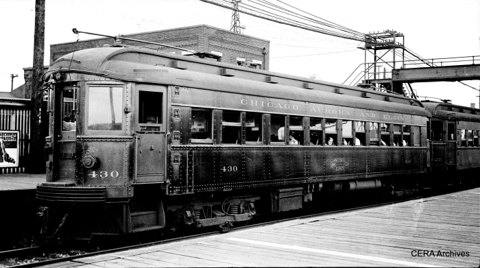 CA&E steel car 430 at Laramie on July 23, 1933.