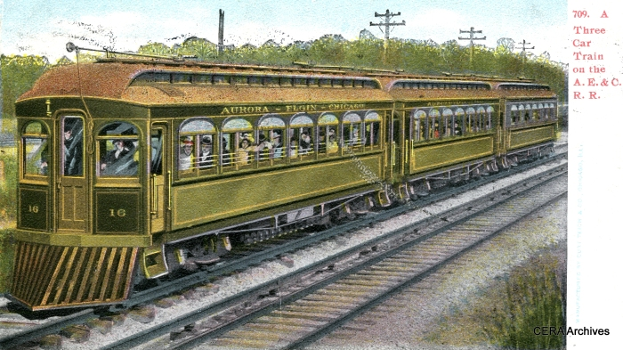 The AE&C was the predecessor of the CA&E. Some of its original 1902 equipment included wood car 16, shown here, a sister of car 20, preserved in operating condition at the Fox River Trolley Museum.