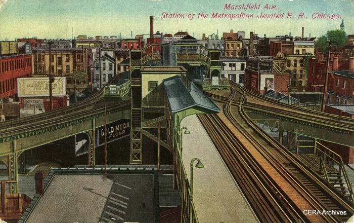 "The three Metropolitan ""L"" lines met at Marshfield junction. Garfield Park trains are in the center of this postcard view, with Logan Square/Humboldt Park on left and Douglas Park on the right. This is approximately where the Pink Line crosses the Blue Line today."